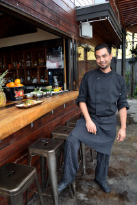Chef Daniel Tarasevich standing with a few of his delicous taco creations.
