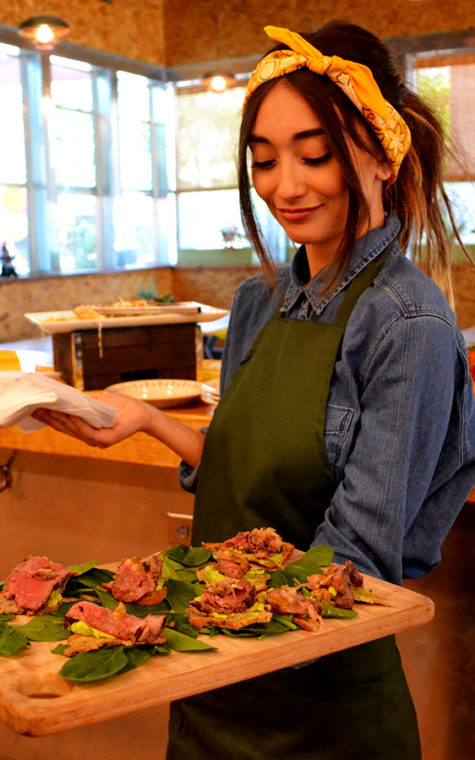 Carmen handed out samples of crispy crostini with topped with smooth avocado and a tender beef tenderloin.