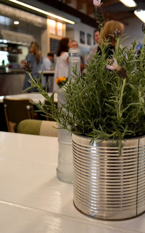 Centerpieces were simple and green. They completely fit the atmosphere of Mudhen.